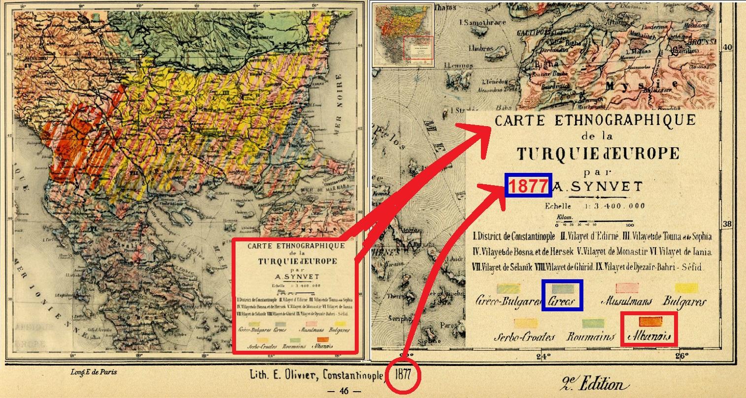 ΕΘΝΟΓΡΑΦΙΚΟΣ ΧΑΡΤΗΣ ΒΑΛΚΑΝΙΚΗΣ ΤΟΥΡΚΙΑΣ -ΕΛΛΑΔΑΣ -ΑΛΒΑΝΙΑΣ -ΒΟΥΛΓΑΡΙΑΣ -ΡΟΥΜΑΝΙΑΣ 1877